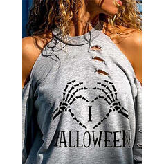 Print Heart Cold Shoulder Long Sleeves Casual Halloween Blouses