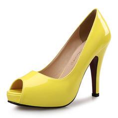 Femmes Cuir verni Talon stiletto Sandales Escarpins Plateforme À bout ouvert chaussures