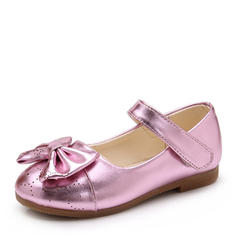 Girl's Leatherette Flat Heel Closed Toe Flats Flower Girl Shoes With Bowknot Velcro