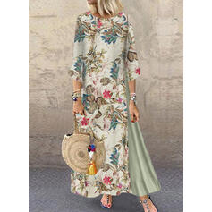 Impresión/Floral Mangas 3/4 Vestidos sueltos Casual Maxi Vestidos