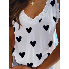 Print V-Neck Cap Sleeve Casual Tank Tops