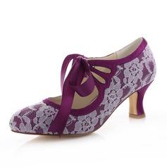 Women's Lace Satin Spool Heel Closed Toe Pumps