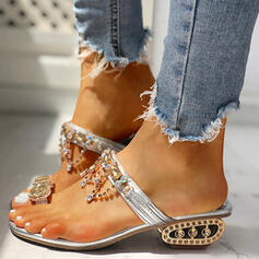 Women's PU Flat Heel Sandals Peep Toe Slippers With Rhinestone shoes