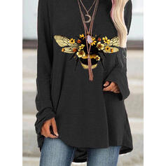 Floral Animal Print Round Neck Long Sleeves Sweatshirt