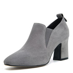 Femmes Suède Talon bottier Escarpins Bout fermé avec Élastique chaussures