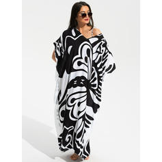 Tropical Print Round Neck Sexy Cover-ups Swimsuits