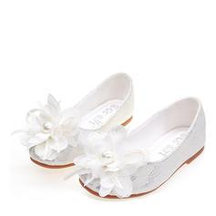 Mädchens Seide wie Satin Flache Ferse Round Toe Geschlossene Zehe Flache Schuhe Blumenmädchen Schuhe mit Satin Schleife