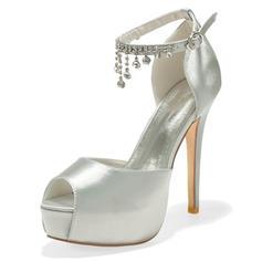 Women's Satin Stiletto Heel Peep Toe Platform Pumps Sandals With Buckle Imitation Pearl