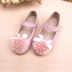 Pentru fete Imitaţie de Piele Fară Toc Închis la vârf Balerini Încălţăminte pentru Domnişoara de Flori cu Nod Imitaţie de Perlă Floare