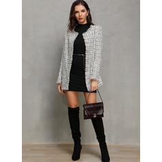 Woolen Long Sleeves Plaid Woolen Coats Jackets