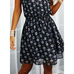 Print Sleeveless A-line Above Knee Casual/Boho/Vacation Skater Dresses