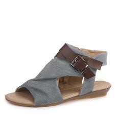 Femmes Velours Talon plat Sandales Chaussures plates À bout ouvert Escarpins avec Boucle Zip chaussures