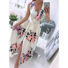 Druck/Blumen Ärmellos A-Linien-Kleid Skater Lässige Kleidung/Urlaub Maxi Kleider