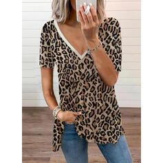 λεοπάρδαλη V-nyak Rövidujjú Μπλουζάκια
