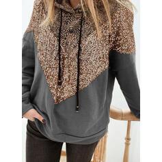 Leopard Sequins Long Sleeves Hoodie