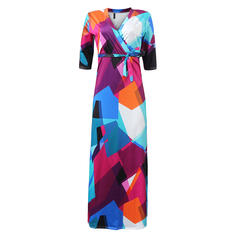 Print 3/4 Sleeves A-line Casual/Plus Size Maxi Dresses