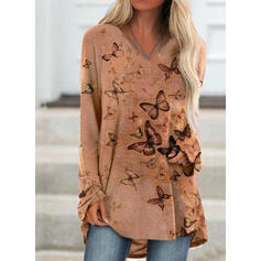 Animal Print V-Neck Long Sleeves Sweatshirt