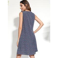 Print Sleeveless Shift Knee Length Casual/Boho/Vacation Tank Dresses