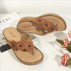 Women's PU Wedge Heel Sandals Flip-Flops Slippers With Flower shoes