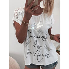 Dyreprint Blonder Figur Rund hals Korte ærmer Casual Skjorter