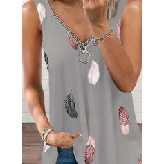 Impresión Cuello en V Sin mangas Camisetas sin mangas