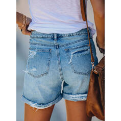 Solid Above Knee Casual Vintage Pocket Ripped Pants Shorts Denim & Jeans