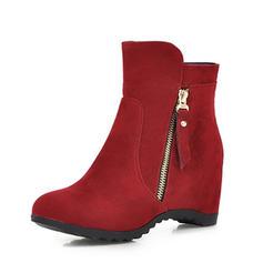 Femmes Suède Talon compensé Compensée Bottes Bottines avec Zip chaussures