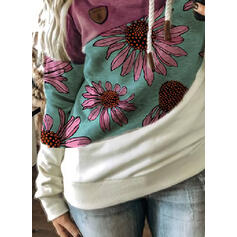 Print Color Block Floral Long Sleeves Hoodie