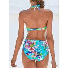 Floral High Waist Halter V-Neck Colorful Boho Bikinis Swimsuits