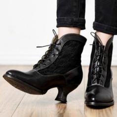 PU Široký podpatek Boty S Šněrovací obuv