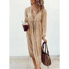 Leopard Long Sleeves Shift Tunic Casual Midi Dresses