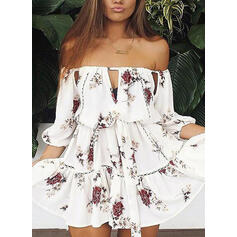 Lace/Print/Floral 3/4 Sleeves A-line Above Knee Casual/Vacation Skater Dresses