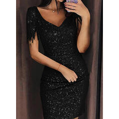 Solid Short Sleeves Bodycon Above Knee Little Black/Party Dresses