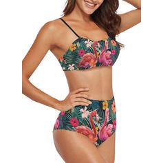 Blomstrete Løv Stropp Sexy Bikinier Badedrakter