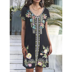 Embroidery/Floral Short Sleeves Shift Knee Length Casual/Boho/Vacation Dresses