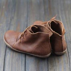 Kvinner PU Flat Hæl Flate sko Lukket Tå Støvler med Blondér sko