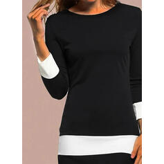 Color Block Long Sleeves Bodycon Above Knee Elegant Dresses