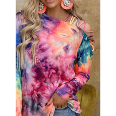 Tie Dye One-Shoulder Long Sleeves Casual Blouses