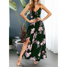 Estampado/Floral Sem mangas Evasê Casual/Férias Maxi Vestidos