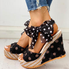 Women's PU Wedge Heel Sandals With Bowknot shoes