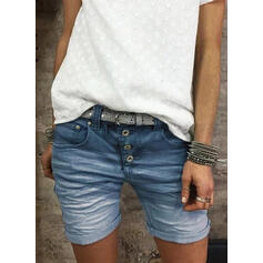 Plus størrelse Casual Jacquard Jean Shorts Denim & Jeans