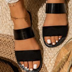 Women's Leatherette Flat Heel Sandals Flats Peep Toe Slingbacks Slippers With Split Joint shoes