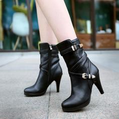 Donna PU Tacco a spillo Stivali alla caviglia con Cerniera scarpe