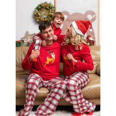 Reindeer Plaid Print Family Matching Christmas Pajamas