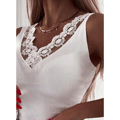 Δαντέλα Egyszínű V-nyak Αμάνικο Μπλουζάκια