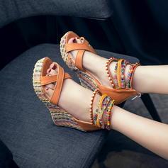 Femmes Similicuir Talon compensé Escarpins Compensée avec Brodé chaussures