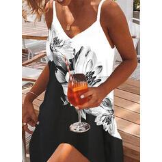 印刷/フローラル/カラーブロック ノースリーブ シフトドレス 膝上 カジュアル/休暇 スリップ ドレス