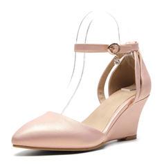 Frauen Kunstleder Keil Absatz Absatzschuhe Keile mit Schnalle Schuhe