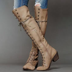 Women's Leatherette Chunky Heel Pumps Boots With Zipper Lace-up shoes