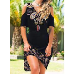 Print 1/2 Sleeves Sheath Knee Length Casual/Vacation Dresses